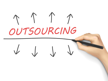 outsourcing: outsourcing word written by hand over white  Illustration