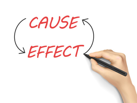 cause and effect written by 3d hand over white background Stock Illustratie