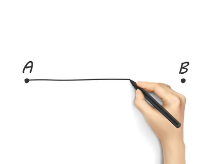 shortest: point A to B drawn by 3d hand over white background Illustration