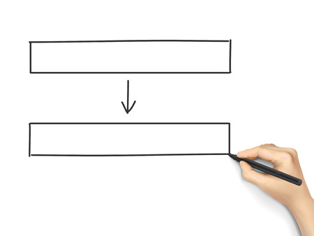 Blank Flow Chart Drawn By Hand Isolated On White Background Royalty - Blank flow chart