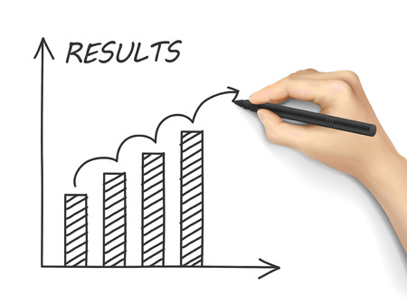 accomplish: results graph drawn by hand isolated on white background