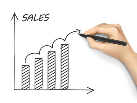 sales growth: sales growth graph drawn by hand isolated on white background Illustration