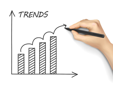 trends: trends growth graph drawn by hand on white background