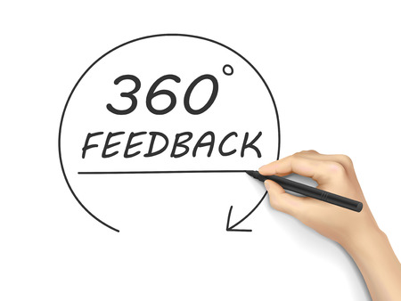 criticize: 360 degrees feedback drawn by hand isolated on white background Illustration