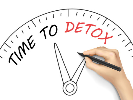 time to detox words written by 3d hand over white