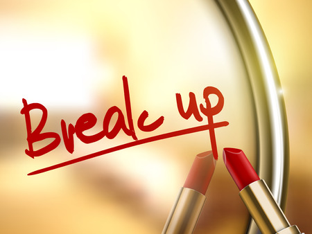 splitting up: break up words written by red lipstick on glossy mirror Illustration