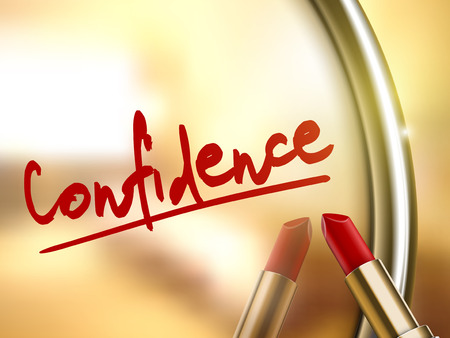 confidence word written by red lipstick on glossy mirror Иллюстрация