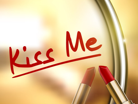 adore: kiss me words written by red lipstick on glossy mirror