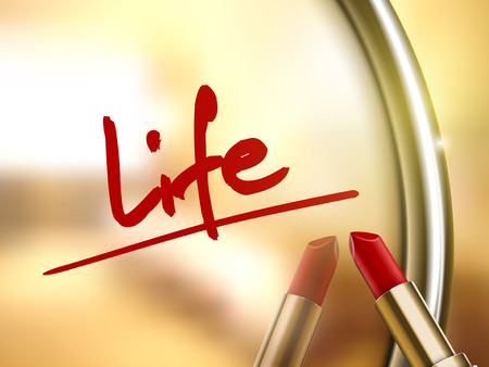 life word written by red lipstick on glossy mirror Иллюстрация