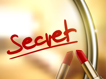 secret word: secret word written by red lipstick on glossy mirror