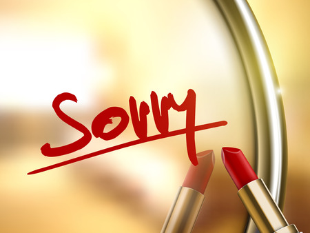 sorry word written by red lipstick on glossy mirror