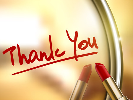 thank you words written by red lipstick on glossy mirror Ilustracja
