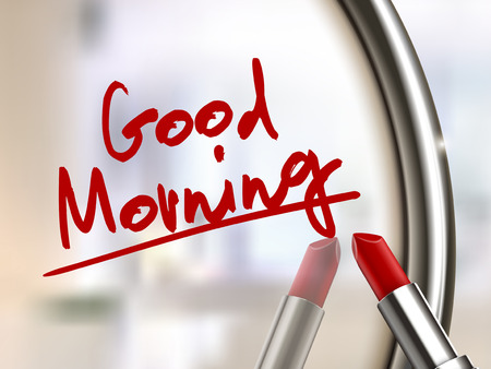 good morning words written by red lipstick on glossy mirror
