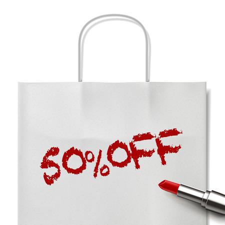 white paper bag: 50% de descuento en las palabras escritas por el l�piz labial rojo en bolsa de papel blanco Vectores