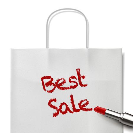white paper bag: mejores palabras de venta escritas por el l�piz labial rojo en bolsa de papel blanco