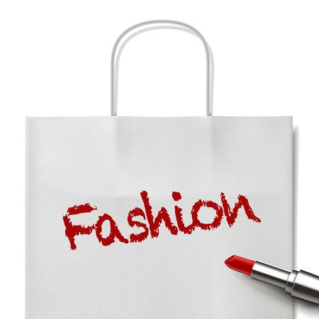 white paper bag: palabra de moda escrito por el l�piz labial rojo en bolsa de papel blanco Vectores
