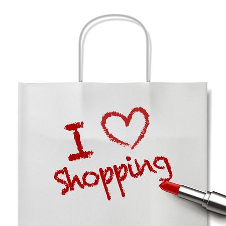 white paper bag: I love shopping words written by red lipstick on white paper bag Illustration