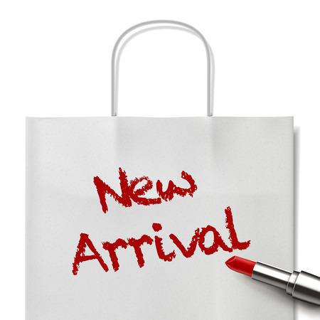 white paper bag: palabras nuevas de la llegada escritas por el l�piz labial rojo en bolsa de papel blanco Vectores