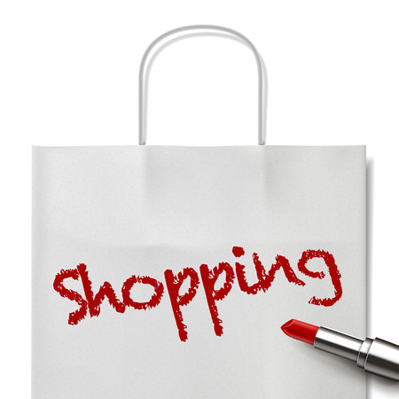 white paper bag: shopping word written by red lipstick on white paper bag
