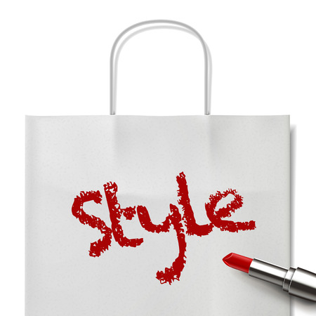 white paper bag: style word written by red lipstick on white paper bag