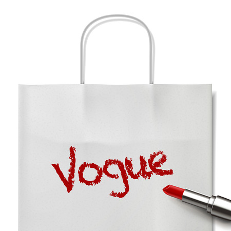 vogue: vogue word written by red lipstick on white paper bag Illustration