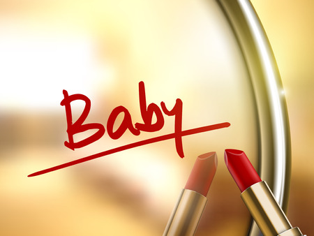provocative couple: baby word written by red lipstick on glossy mirror Illustration