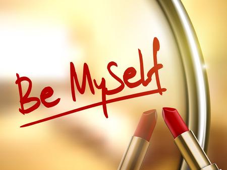 be miyself words written by red lipstick on glossy mirror