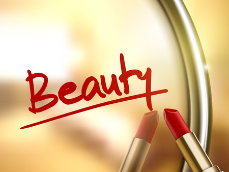 beauty word written by red lipstick on glossy mirror