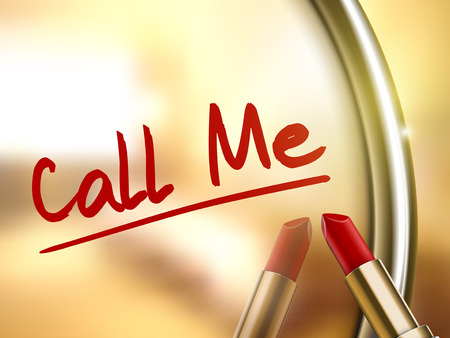 call me: call me words written by red lipstick on glossy mirror