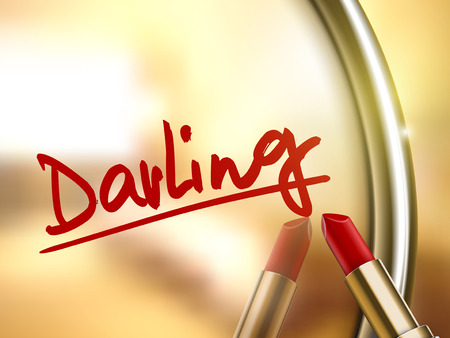 darling: darling word written by red lipstick on glossy mirror Illustration