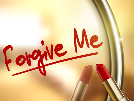 apologetic: forgive me words written by red lipstick on glossy mirror