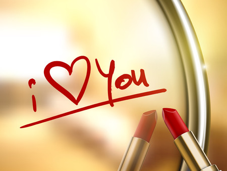 i love you words written by red lipstick on glossy mirror 矢量图像