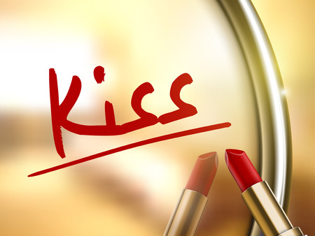 to adore: kiss word written by red lipstick on glossy mirror