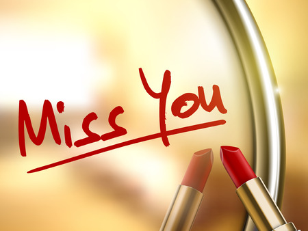 lip stick: miss you words written by red lipstick on glossy mirror