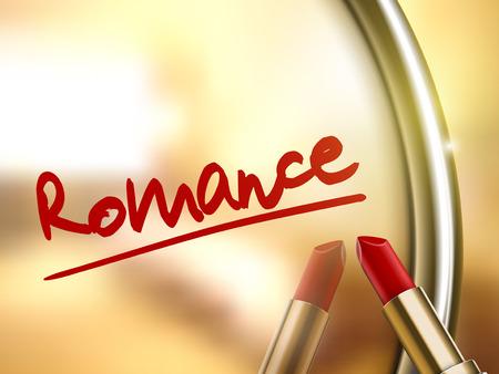 romance: romance word written by red lipstick on glossy mirror Illustration