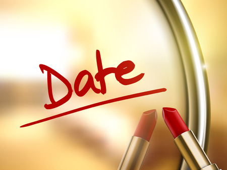 soul mate: date words written by red lipstick on glossy mirror