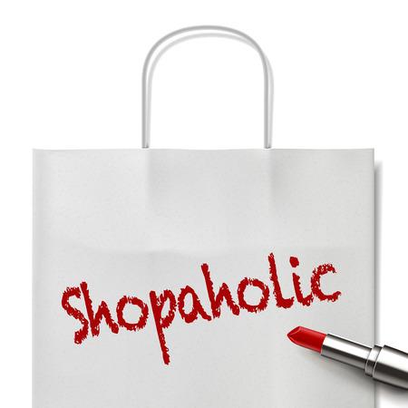 white paper bag: shopaholic palabra escrita por l�piz labial rojo en bolsa de papel blanco