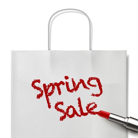 white paper bag: venta de primavera palabras escritas por el l�piz labial rojo en bolsa de papel blanco Vectores