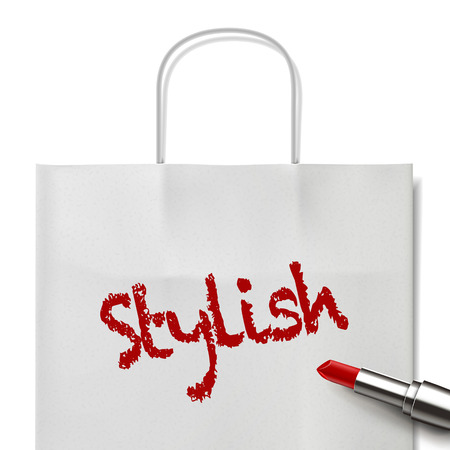 white paper bag: stylish word written by red lipstick on white paper bag Illustration