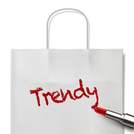 white paper bag: moda palabra escrita por el l�piz labial rojo en bolsa de papel blanco