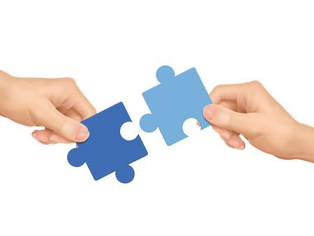 samenwerking concept: handen houden puzzel stukjes op een witte achtergrond