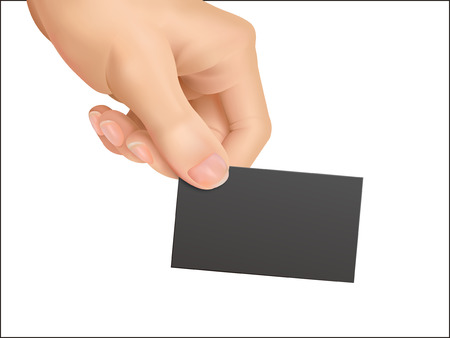 contact sheet: business concept: hands holding a business card over white background