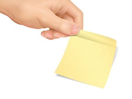 sticky note: business concept: hand holding a sticky note over white background
