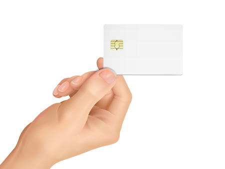 plastic card: 3d hand holding a blank chip card over white background