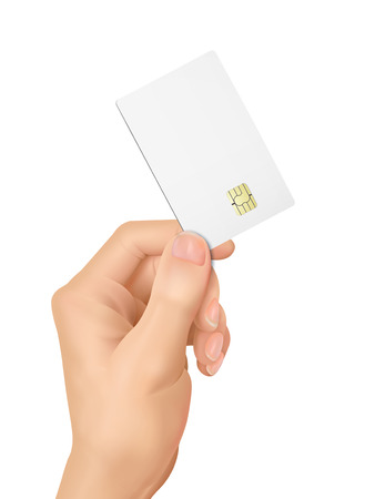 sales meeting: 3d hand holding a blank chip card over white background