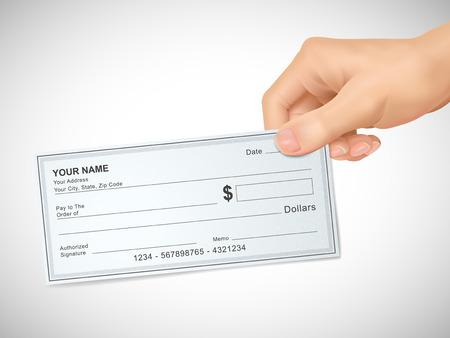 chequera: concepto de negocio: 3d mano sosteniendo un cheque sobre fondo gris