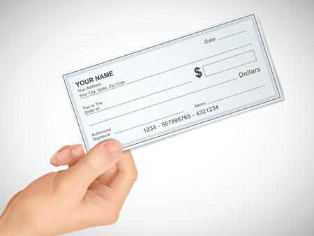 cheque en blanco: concepto de negocio: 3d mano sosteniendo un cheque sobre fondo gris