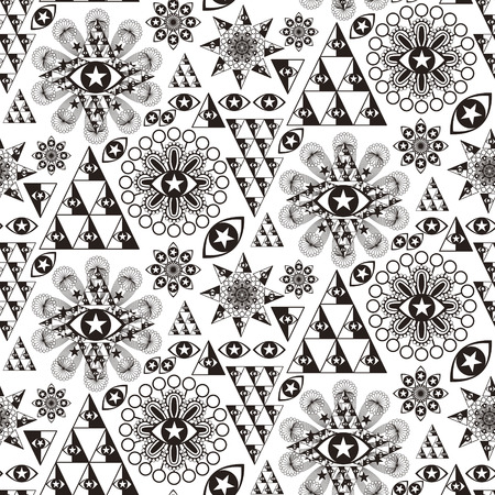 soulful eyes: fantasy special geometric seamless pattern in black and white