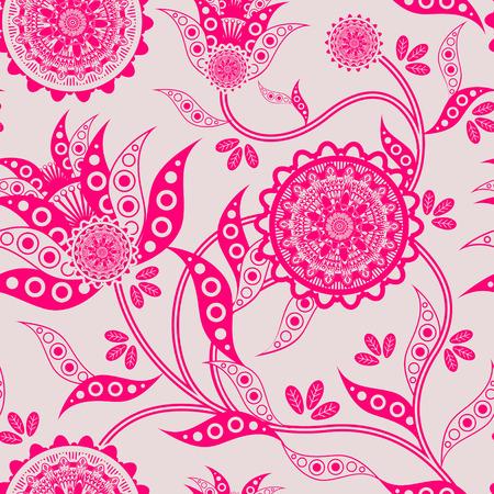ameba: moda sin fisuras patrón floral en fondo de color rosa fluorescente