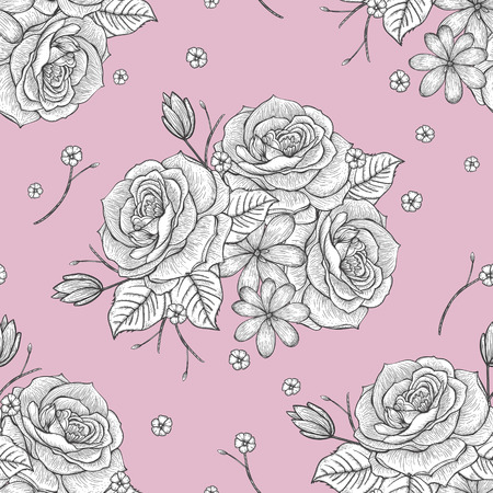 hand drawn rose: retro seamless hand drawn rose pattern over pink background